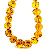 Best Amber by Graciana Friend Gifts On Sales - Sterling Silver Amber Round Beaded Huge Necklace 30 Review