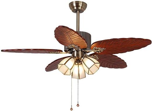 Ventilador de techo con luz tallada en madera maciza hoja abanico de luz salón antiguo silencioso ventilador de techo restaurante luz ventilador LED araña de 55 pulgadas: Amazon.es: Hogar