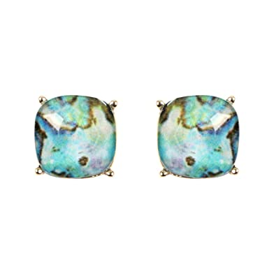8b212dadf RIAH FASHION Square Acrylic Crystal Jewel Studs - Sparkly Cushion Cut Post  Back Statement Earrings Small Sequin Confetti Glitter, Opalescent Faux  Mother of ...