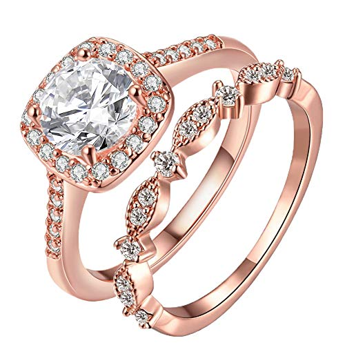 TIVANI-CITY Women's 2PCS Pretty 18K Rose Gold Plated Princess Cut CZ Bridal Engagement Wedding Ring Set Best Anniversary Eternity Love Promise Rings for Her Heart&Arrow Jewelry Rings (Rose Gold, 9) ()