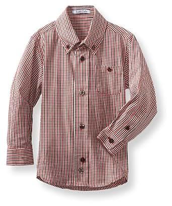 Kitestrings Little Boys' Micro Check Button Front Shirt, Red/Black Plaid, 5