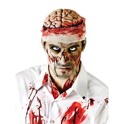 Zombie Costume Men (Fun World Bloody Brain Headpiece One-Size)