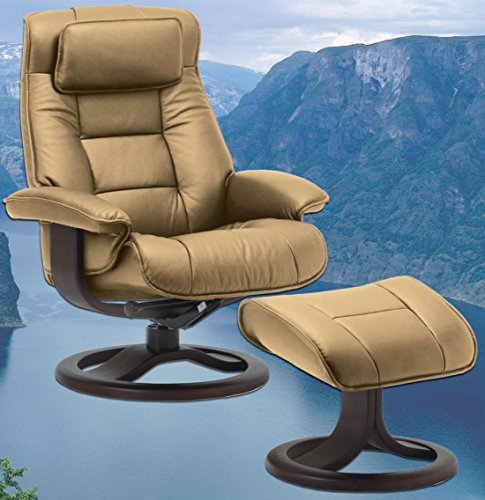 Fjords Mustang Large Leather Recliner and Ottoman – Norwegian Ergonomic Scandinavian Reclining Chair in Nordic Line Genuine Sandel Light Brown Leather Espresso Wood For Sale