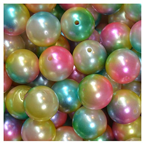20mm Bulk Package 50 Multi Color Rainbow Faux Pearl Acrylic Chunky Bubblegum Beads Loose Gumball Beads - 20 Pearl Mm