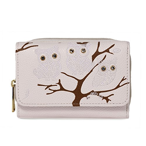 Women Wallet Card Ladies White Design Coin Purses 1 Small Luxury Owl Ivory Zipped For Print Holder Animal BAFx1wq