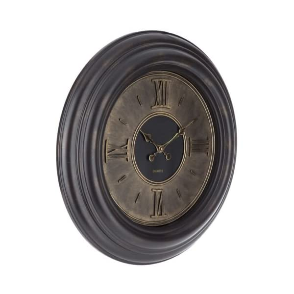 Lana45 Wall Hanging Clock Roman Numerals Plastic Round Gold Dial Elegant Living Room Home Decor 3