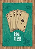 Vintage Area Rug by Lunarable, Retro Casino Poster Print Royal Flush with Game Cards Lucky Joker Hobby Image, Flat Woven Accent Rug for Living Room Bedroom Dining Room, 5.2 x 7.5 FT, Sea Green Beige