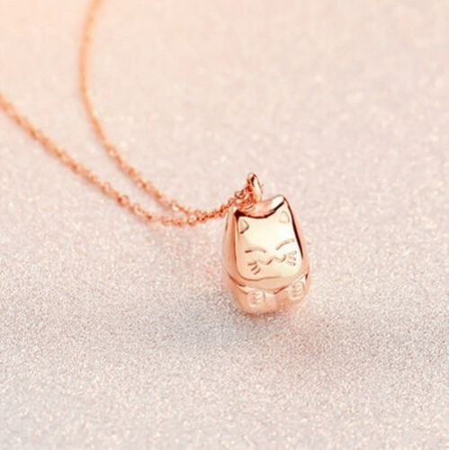 Ello Elli Lucky Cat Necklace Rose-Gold Tone 316L Stainless Steel by Ello Elli (Image #5)