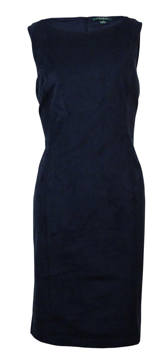 Lauren Ralph Lauren Womens Faux Suede Sheath Wear to Work Dress Navy 4