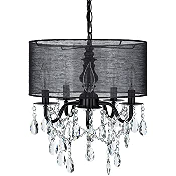 Crystal chandelier chandeliers with large black shade h15 x w15 luna black 5 light crystal chandelier with drum shade glass beaded swag plug in mozeypictures Choice Image