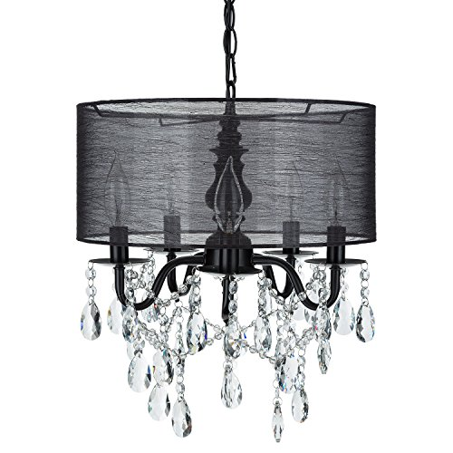 Luna Black 5 Light Crystal Chandelier with Drum Shade, Glass Beaded Swag Plug-In Pendant Wrought Iron Cylinder Shaded Ceiling Lighting Fixture Lamp