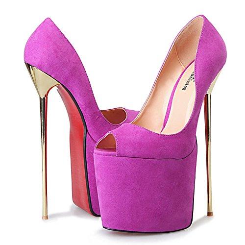 L@YC Tacones de Mujer con Ante Abierto 23CM Fiesta y Noche Rosa/Violeta/Negro Purple