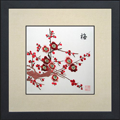 King Silk Art 100% Handmade Embroidery Japanese Winter Cherry Blossoms Chinese Print Framed Flower Floral Painting Gift Oriental Asian Wall Art D¨¦cor Artwork Hanging Picture Gallery 36065WFB1