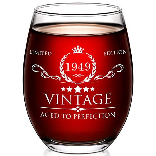 1949 70th Birthday Gifts for Women and Men Wine Glass - 70 Year Old Birthday Gifts, Party Favors, Decorations for Him or Her - Vintage Funny Anniversary Gift Ideas for Mom, Dad, Husband, Wife - 15oz -