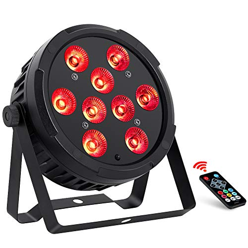 Par Lights for Stage Lighting, OPPSK New Version Full 36W 9LEDs Amber & RGB Par Can Light by Remote DMX Control and Power Linking for DJ Wedding Church Party Supply