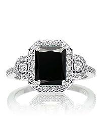 1.5 Carat Emerald Cut Three Stone Black Diamond Halo Diamond Ring on 10k White Gold