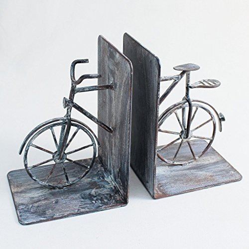Time Concept Handmade Iron Decorative Bicycle Bookends Organizer - Book Organizing (Lcg Iron)