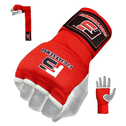 FIGHTSENSE Gel Padded Inner Gloves with Long Wraps for Boxing MMA Wrist Hand Wraps Muay Thai Bandages Under Gloves Training Pair (Red, Large)