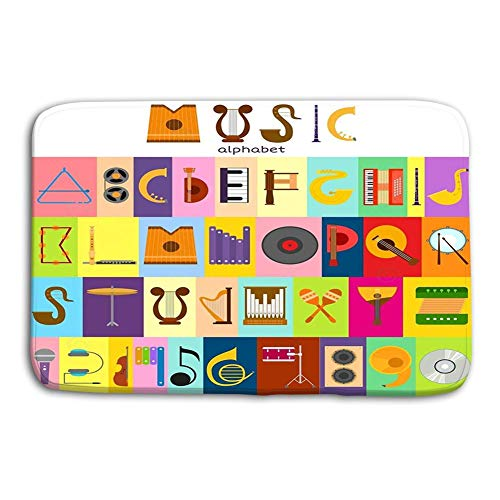 YGUII Fashionable Design Doormat Indoor/OutdoorFloor Mat 16X23.6in (40x60cm) Music Alphabet Font Text Symbols Musical Instrument Decorative Education Notes Hand Mark Calligraphy Musician Poster