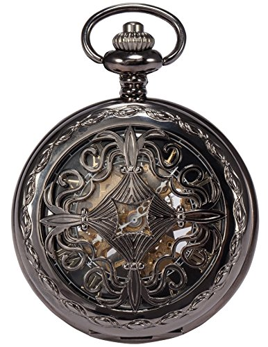 AMPM24 Steampunk Black Copper Case Skeleton Mechanical Pendant Pocket Watch Fob WPK167 (Punk Pocket Watch)