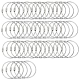 BlueCosto (50-Pack-Silver) Ultra Tough Stainless Steel String Wire Luggage Tag Loops Keyrings 600015