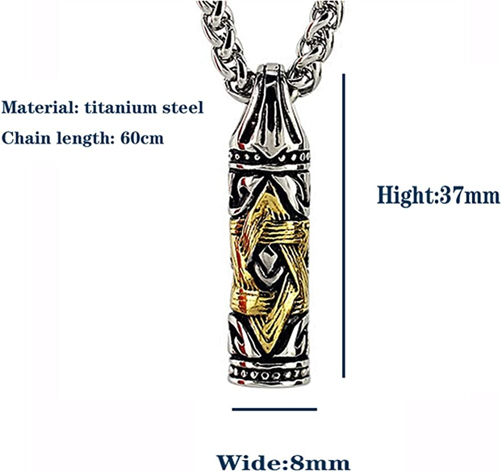 Punk Six Pointed Star Bullet Head Pendant Titanium Steel Domineering Personality Mens Necklace Intermediate Color 24 Inch