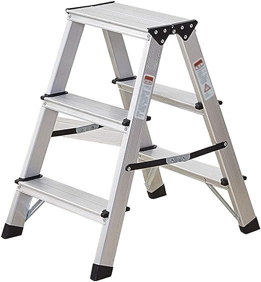 Escalera Taburete 3 Pasos Plegable Aluminio Resistente de Acero Portátil Antideslizante Estera Pisada Compacto 150 Kg Capacidad: Amazon.es: Hogar