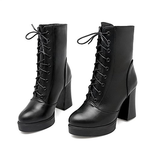 AmoonyFashion Womens Low-Top Solid Lace-Up Round Closed Toe High-Heels Boots Black P2mkqWDwdf