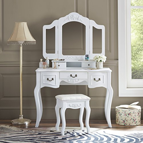 - Fineboard Vanity Set Beauty Station Makeup Table and Wooden Stool Set with 3 Mirrors and 5 Organization Drawers Set, White