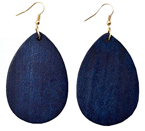 (StylesILove Womens Girls Fashion Teardrop Shaped Wood Dangle Earrings (Navy)