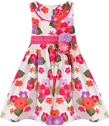 Bonny Billy Girls' Round Neck Sleeveless Floral Printed Cotton Dress with Sash