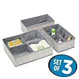 mDesign Fabric Baby Nursery Closet Organizer for Clothing, Socks, Shoes, Bibs, Diapers - Set of 3, Gray