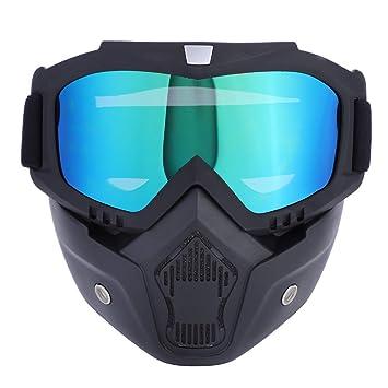 Casco de Motocicleta Gafas Mascara, Casco de Esquí Gafas Extraíbles Correa Antideslizante Ajustable, Off