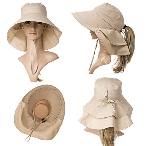 f8d5ef7f27386 Siggi Summer Bill Flap Cap UPF 50+ Cotton Sun Hat with Neck Cover Cord Wide  Brim for Women Khaki  Amazon.in  Clothing   Accessories
