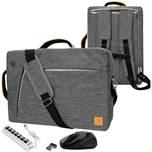 VanGoddy Slate Gray Convertible Laptop Bag with USB Hub and Mouse for AOC 16-inch Portable Monitor I1659FWUX, E1659FWUX, E1659FWU, E1659FWU, I1601FWUX