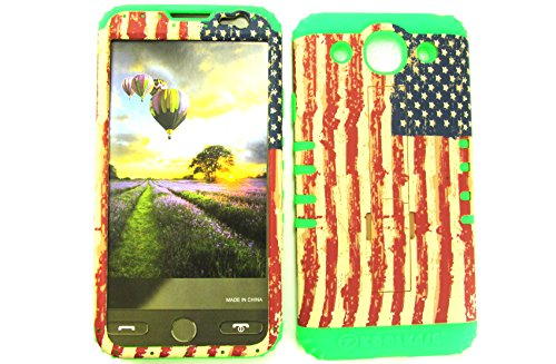 LG OPTIMUS G PRO CASE USA FLAG GR-TE529 HEAVY DUTY HIGH IMPACT HYBRID COVER LIME GREEN SILICONE SKIN E980