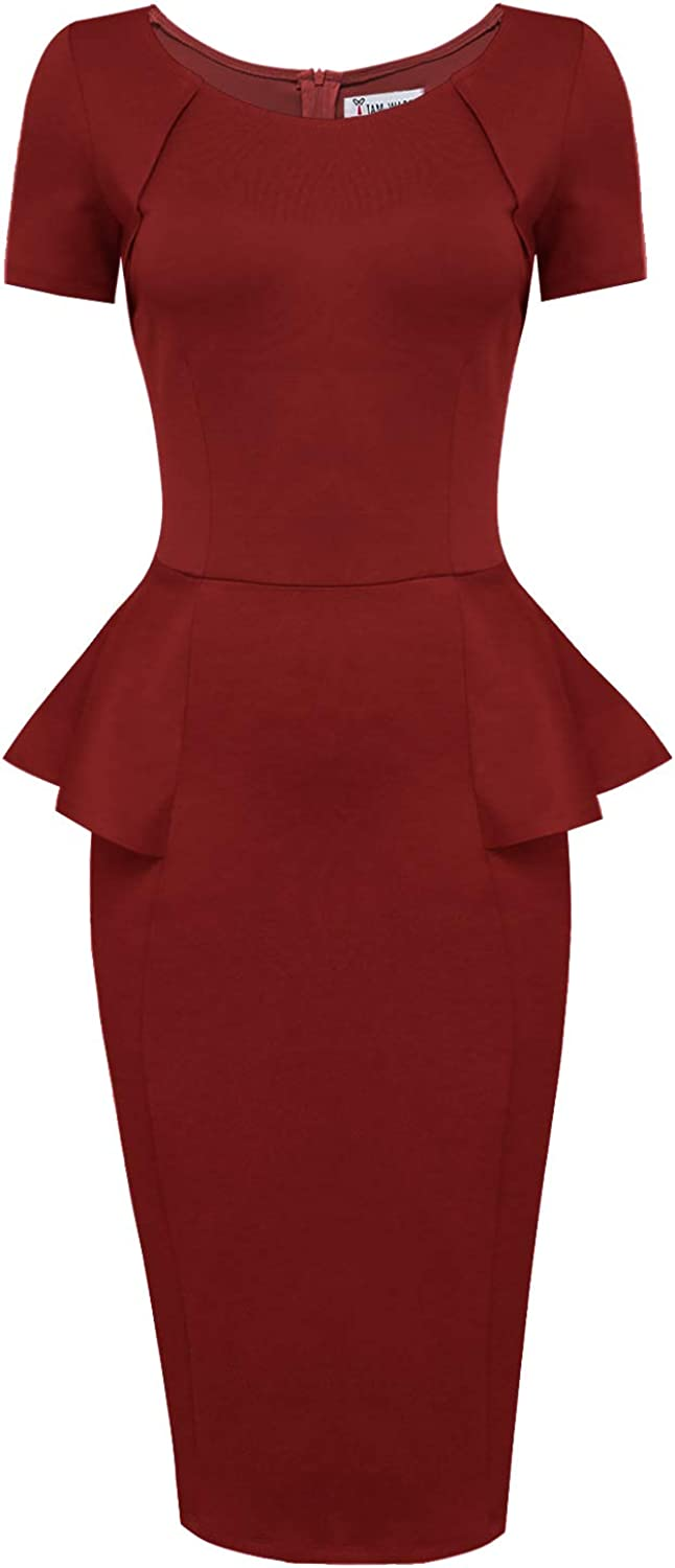 TAM WARE Women Short Sleeve Zip Up Peplum Bodycon Midi Dress