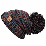 ScarvesMe C.C. Warm Chunky Soft Oversized Cable Knit Slouchy Beanie with Pom Pom (Tri Color-Multi)