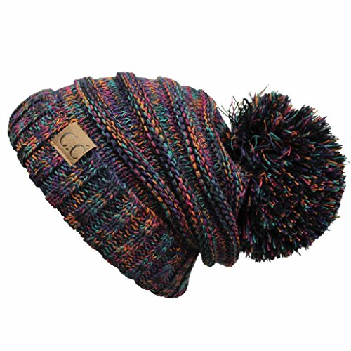 Hatsandscarf CC Exclusives Unisex Oversized Slouchy Beanie with Pom (HAT-6242POM) (Black Multi)