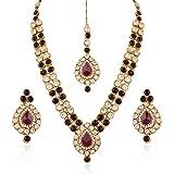 I Jewels Indian Jewellery Set with Maang Tikka for Women IJ244Pu (Purple)