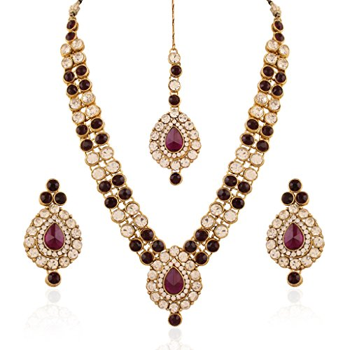 I Jewels Indian Jewellery Set with Maang Tikka for Women IJ244Pu (Purple) by I Jewels