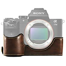 First2savvv XJPT-A7II-D10 dark brown Leather Half Camera Case Bag Cover base for Sony Alpha A7 II . A7 Mark 2 . A7R Mark 2