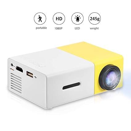 Vbestlife Mini Proyector LED Portátil 1080P HD Admite HDMI, AV, USB Reproductor Multimedia Altavoces Estéreo Incorporados para Cine en Casa con Estilo ...