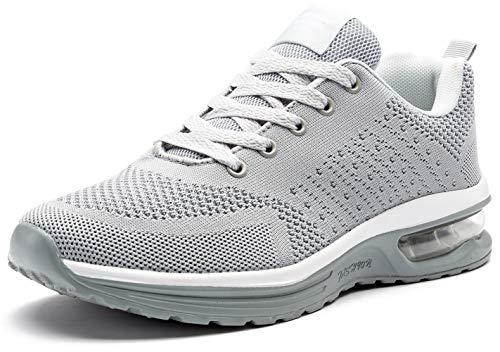 (ODOUK Mens Womens Sport Tennis Shoes Athletic Running Breathable Fitness Sneakers(Grey,9.5 M US Women/8 M US Men))