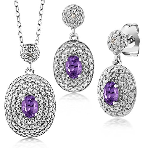 Amethyst Diamond Pendant Watch (1.07 Ct Oval Purple Amethyst and Diamond Rhodium Plated Pendant Earrings Set)