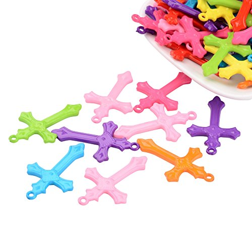 Pandahall 100pcs Mixed Color Cross Acrylic Pendants For Jewelry Making Embellishments DIY Craft 36x22x3mm