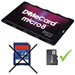 DiMeCard micro8 microSD Memory Card Holder (Ultra thin credit card size holder, writable label) 12 Ultra-slim design - 1/10th inch thin, credit card size for wallet (thinnest in the world!) Writable panels to note memory card contents Ideal companion for camera phones, smart phones & tablet PC's