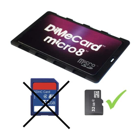 DiMeCard micro8 microSD Memory Card Holder (Ultra thin credit card size holder, writable label) 6 Ultra-slim design - 1/10th inch thin, credit card size for wallet (thinnest in the world!) Writable panels to note memory card contents Ideal companion for camera phones, smart phones & tablet PC's