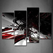 First Wall Art - Abstract Fractal Black Red White Wall Art Painting The Picture Print On Canvas Abstract Pictures For Home Decor Decoration Gift