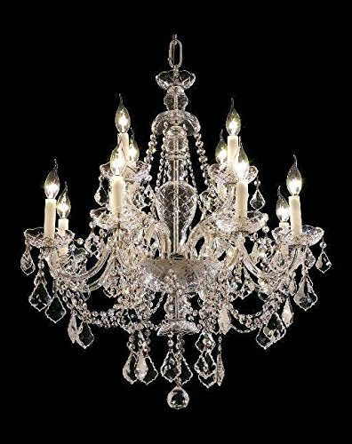 Elegant Lighting 7831D28C/Ss Swarovski Elements Clear Crystal Alexandria 8+4-Light, Two-Tier Crystal Chandelier, Finished In Chrome With Clear Crystals - Alexandria 4 Light Chandelier